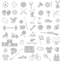 sport equipment icon set, drawing sketch vector style