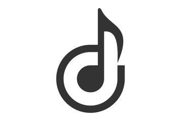 letter D music note logo
