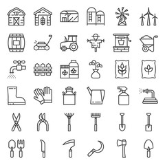 Farm and agriculture equipment, outline icon