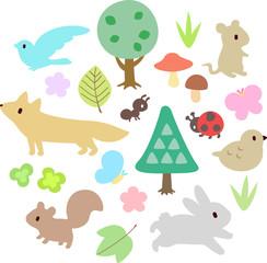 森の動物と植物