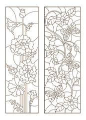 Set of contour stained glass illustrations with poppies and flowers with butterflies, dark contours on white background