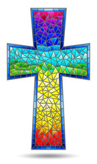 The illustration in stained glass style painting on religious themes, stained glass window in the shape of a rainbow Christian cross , isolated on white background
