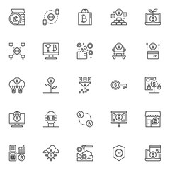 Cryptocurrency mining outline icons set. linear style symbols collection, line signs pack. vector graphics. Set includes icons as litecoin stack, global digital money circulation, bitcoin shopping bag
