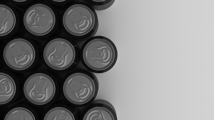 Big black soda cans on white background