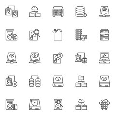 Data recovery outline icons set. linear style symbols collection, line signs pack. vector graphics. Set includes icons as transfer hard drive, cloud folder, data search, corrupt file, computer server
