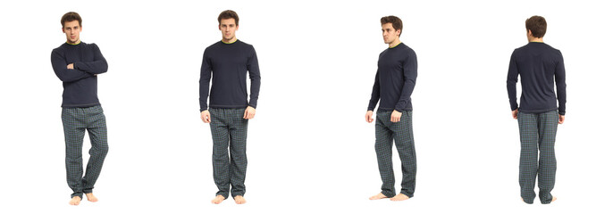 An image of a handsome man in checkered pajamas isolated