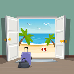 Open doorway to the beach. Go on vacation. Luggage at the door.