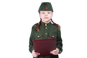 girl in uniform look forward, on white background, reading oath