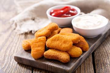 chicken nuggets with sauces