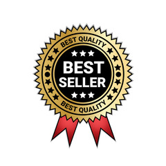Best Seller And Quality Medal Golden Seal With red Ribbon Decoration Vector Illustration
