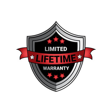 Limited Lifetime Warranty Sign Silver Shield Seal Isolated Vector Illustration