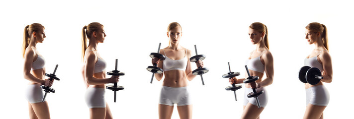 Fit and sporty woman training with dumbbells isolated on white. Sport, health and fitness collection.