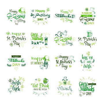Happy Saint Patrick's Day Logotypes Set, Hand Sketch Irish Celebration Design, Lettering Typography Icons Collection Vector Illustration