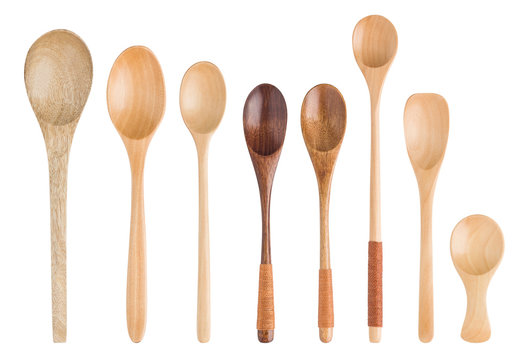 set wooden spoons isolated on white background, clipping path, full depth of field