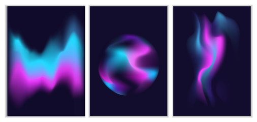 blurred liquid electric wavy holographic silk abstract soft vibrant pink blue white purple turquoise colors flow blend gradient backgrounds set