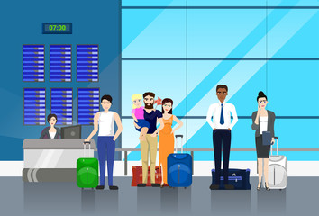People with Baggage standing In Line To Counter In Airport For Check In Flat Vector Illustration