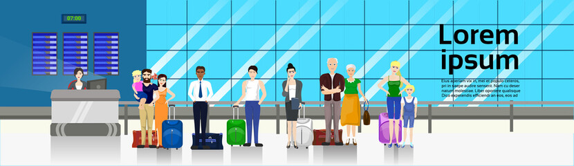 People with Baggage Standing In Line To Counter In Airport For Check In Horizontal Banner Flat Vector Illustration