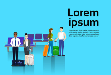 People Trevelers With Luggage Waiting For Departure In Airport Template Background With Copy Space Flat Vector Illustration