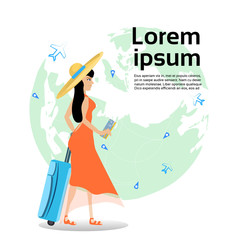 Girl Traveler Holding Suitcase And Ticket Over World Map Background With Copy Space Flat Vector Illustration