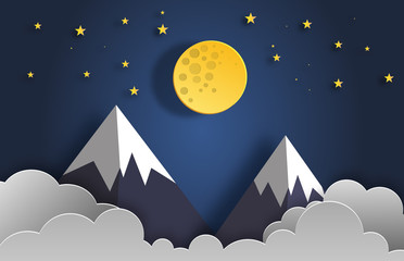 Paper art style of landscape at night with moon, stars, and mountains flat-style vector illustration.