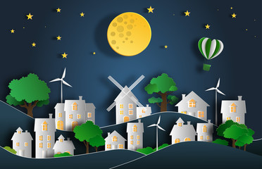 Paper art style of landscape at night in the city with moon and stars, flat-style vector illustration.