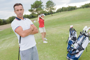 Portrait of man on golf course