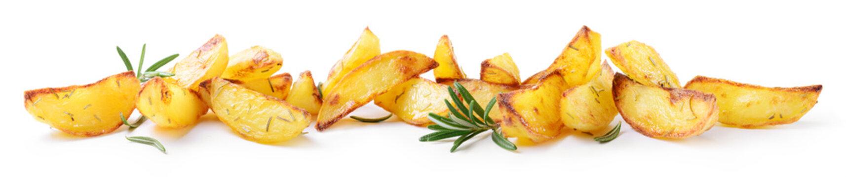 Roasted potatoes isolated on white background