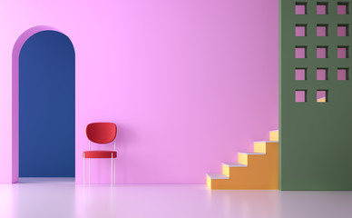 Colorful empty room 3d render.There are minimalist style image ,The room has white floor,pink green and blue wall,yellow and orange stait, furnished with red chair