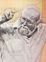 Krzysztof Penderecki portrait from Polish money