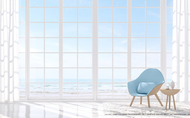 Modern white living with sea view 3d render.There are white floor and white window.Furnished with light blue armchair.There are large window overlooks to sea view.