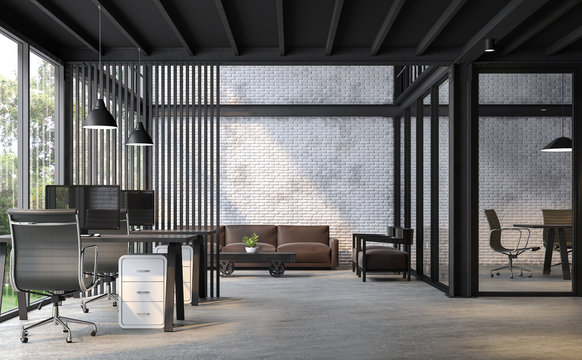 Industrial loft style office 3d render.There are white brick wall,polished concrete floor and black steel structure.Furnished with dark brown and black  leather furniture.