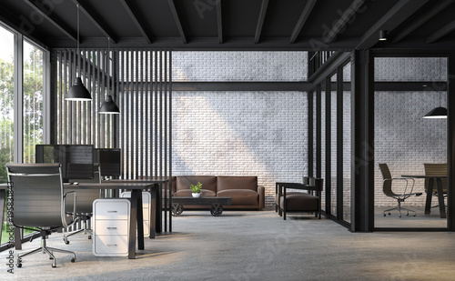 Wall mural Industrial loft style office 3d render.There are white brick wall,polished concrete floor and black steel structure.Furnished with dark brown and black  leather furniture.