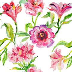 Watercolor pink flowers peonies. Handmade greeting cards.