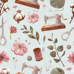 Seamless vintage pattern with sewing items and floral elements. Sewing machine, scissors, thread, reel, pins, needles, buttons. Hand-drawn watercolor textured background