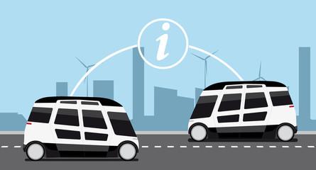 V2V - Vehicle to vehicle communication. Data exchange between self driving cars. Vector illustration