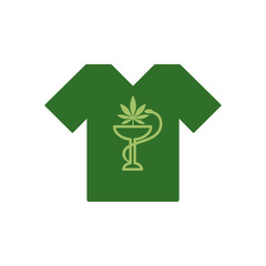 T-shirt with snake and bowl. Marijuana Leaf. Medical cannabis. Health and Medical therapy. Marijuana Legalization. Drug consumption, marijuana use. Tee shirt template. Isolated vector illustration on