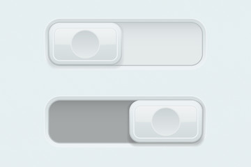 On and Off white plastic slider buttons
