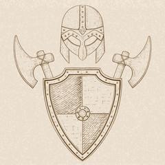 Viking warrior set - shield, swords and helmet. Hand drawn sketch on beige background