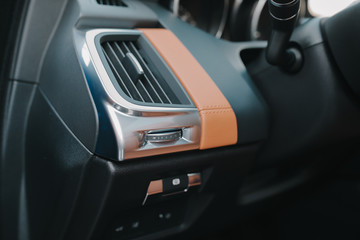 Closeup shot of a vehicle interior elements