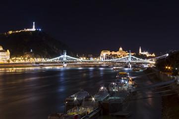 cruise ships in Budapest city, Hungary. Night scene