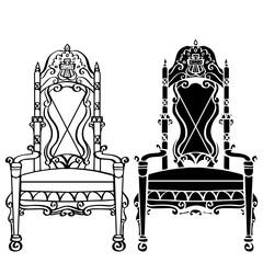 Furniture hand drawn set, vintage gothic chair, armchair, throne