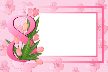banner postcard on March 8,Pink   tulips and sakura flowers.   Womens Day Greetings card.  Floral bouquet. Square frame. Text. Spring  Holidays on pink.  Vector illustration.