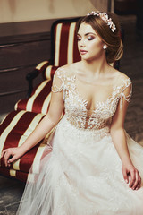 Beautiful bride in the morning of a wedding day
