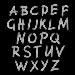 Hand drawn chalk whiting alphabet, font, letters