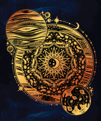 Planet composition geometry mandala moon inside.