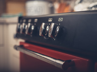 Close up on stove dials