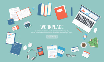 Workplace background. Top view of table with supplies laptop, books, documents, folder, notepad, calculator, calendar, headphones, clock, coffee, id card. Vector illustration Top view
