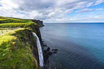 Kilt Rock and Mealt Waterfall, one of the most famous landmark in the Isle of Skye, Scotland, Britain