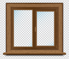 Plastic window imitation wood, vector graphic