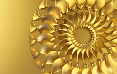 Abstract Gold Flower Background, 3d illustration